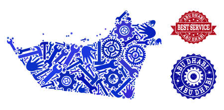 Best service composition of blue mosaic map of Abu Dhabi Emirate and scratched seal stamps. Mosaic map of Abu Dhabi Emirate constructed with cogs, spanners, hands.