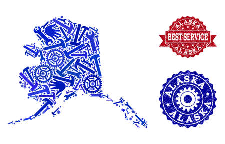 Best service combination of blue mosaic map of Alaska State and rubber stamps. Mosaic map of Alaska State constructed with gears, wrenches, hands. Vector imprints with scratched rubber texture. Illustration
