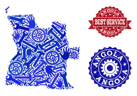 Best service combination of blue mosaic map of Angola and corroded stamps. Mosaic map of Angola constructed with cogs, spanners, hands. Vector seals with corroded rubber texture. Illustration