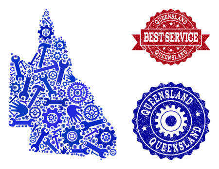 Best service composition of blue mosaic map of Australian Queensland and scratched stamps. Mosaic map of Australian Queensland designed with cogs, wrenches, hands.