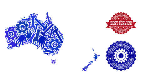 Best service combination of blue mosaic map of Australia and New Zealand and unclean seal stamps. Mosaic map of Australia and New Zealand constructed with gearwheels,cogwheels, spanners, hands.