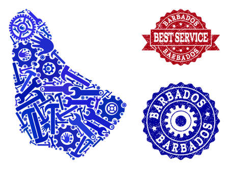 Best service combination of blue mosaic map of Barbados and unclean stamps. Mosaic map of Barbados designed with gears, wrenches, hands. Vector watermarks with unclean rubber texture.