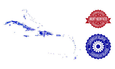 Best service collage of blue mosaic map of Caribbean Islands and rubber seals. Mosaic map of Caribbean Islands designed with cogs, wrenches, hands. Vector watermarks with corroded rubber texture.