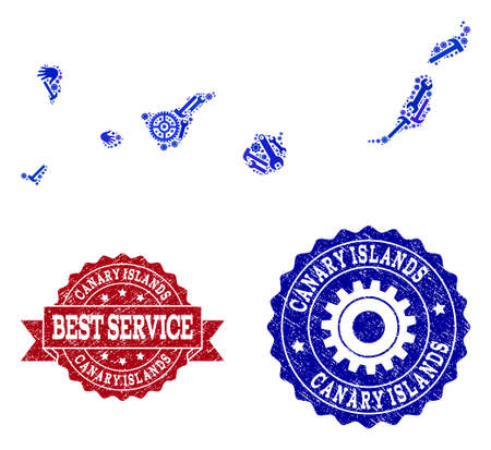 Best service composition of blue mosaic map of Canary Islands and unclean seals. Mosaic map of Canary Islands designed with gears, wrenches, hands. Vector seals with grunge rubber texture.