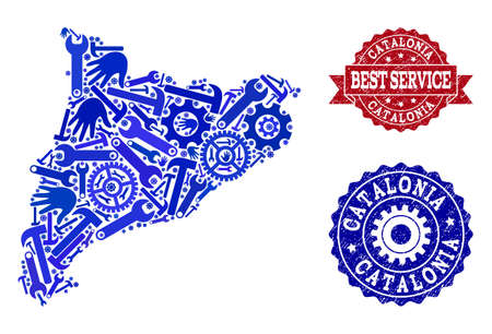 Best service composition of blue mosaic map of Catalonia and corroded seal stamps. Mosaic map of Catalonia designed with cogs, wrenches, hands. Vector seals with retro rubber texture.