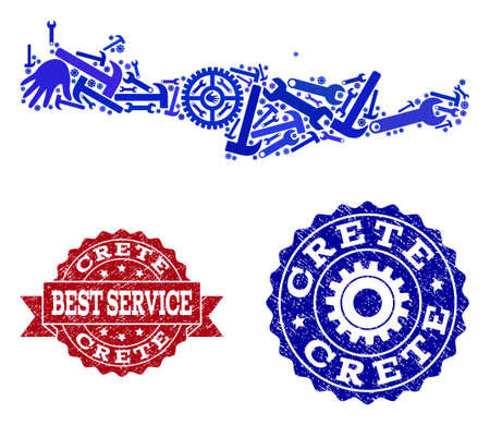 Best service collage of blue mosaic map of Crete Island and grunge seals. Mosaic map of Crete Island designed with gears, wrenches, hands. Vector seals with unclean rubber texture.