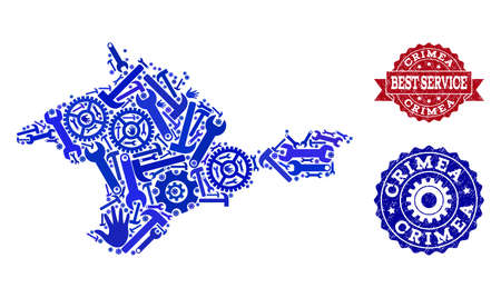 Best service combination of blue mosaic map of Crimea and corroded stamps. Mosaic map of Crimea designed with gears, wrenches, hands. Vector seals with corroded rubber texture.