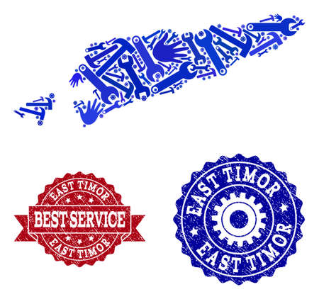 Best service combination of blue mosaic map of East Timor and scratched seals. Mosaic map of East Timor designed with cogs, wrenches, hands. Vector seals with scratched rubber texture.