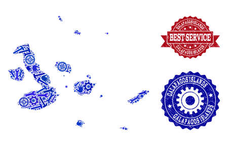 Best service composition of blue mosaic map of Galapagos Islands and corroded seals. Mosaic map of Galapagos Islands constructed with cogs, wrenches, hands. Vector seals with corroded rubber texture. Illustration