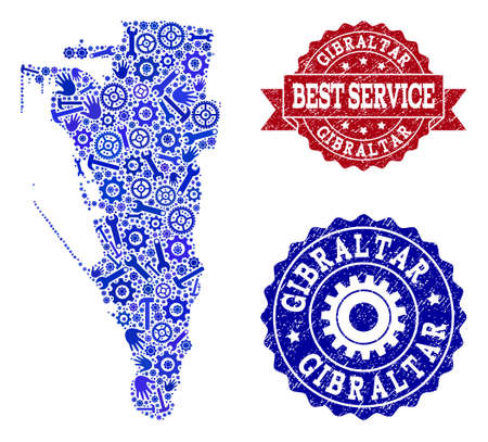 Best service composition of blue mosaic map of Gibraltar and rubber seal stamps. Mosaic map of Gibraltar constructed with gearwheels,cogwheels, wrenches, hands.