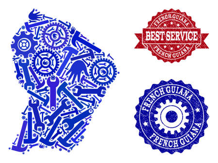 Best service composition of blue mosaic map of French Guiana and corroded stamps. Mosaic map of French Guiana designed with cogs, wrenches, hands. Vector seals with corroded rubber texture.  イラスト・ベクター素材