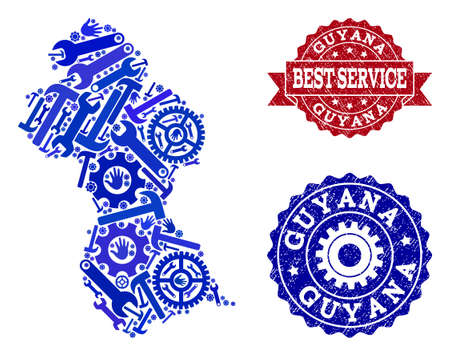 Best service collage of blue mosaic map of Guyana and unclean seals. Mosaic map of Guyana constructed with cogs, spanners, hands. Vector seals with grunge rubber texture.