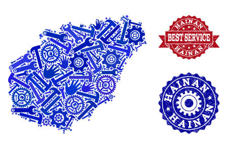 Best service collage of blue mosaic map of Hainan Island and textured stamps. Mosaic map of Hainan Island constructed with gears, spanners, hands. Vector watermarks with unclean rubber texture. Illustration