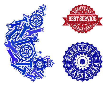 Best service combination of blue mosaic map of Karnataka State and grunge seal stamps. Mosaic map of Karnataka State constructed with cogs, spanners, hands. Vector seals with retro rubber texture. Illustration