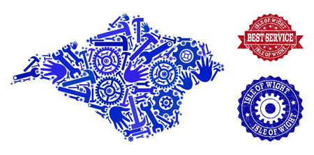 Best service combination of blue mosaic map of Isle of Wight and rubber seal stamps. Mosaic map of Isle of Wight constructed with gears, spanners, hands.