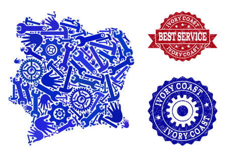Best service collage of blue mosaic map of Ivory Coast and unclean stamps. Mosaic map of Ivory Coast designed with cogs, spanners, hands. Vector watermarks with unclean rubber texture. 写真素材 - 119350977