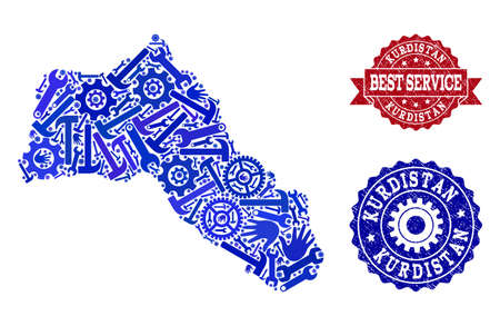 Best service collage of blue mosaic map of Kurdistan and corroded stamps. Mosaic map of Kurdistan designed with gears, spanners, hands. Vector imprints with distress rubber texture.