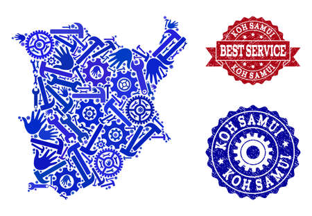Best service composition of blue mosaic map of Koh Samui and rubber seal stamps. Mosaic map of Koh Samui constructed with gears, wrenches, hands. Vector watermarks with scratched rubber texture.