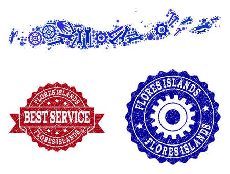 Best service combination of blue mosaic map of Indonesia - Flores Islands and rubber seal stamps. Mosaic map of Indonesia - Flores Islands constructed with cogs, spanners, hands. 版權商用圖片 - 119351036