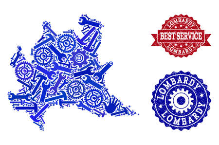 Best service collage of blue mosaic map of Lombardy region and rubber seal stamps. Mosaic map of Lombardy region designed with gears, wrenches, hands. Vector watermarks with scratched rubber texture.