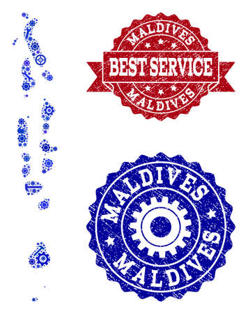 Best service combination of blue mosaic map of Maldives and dirty seals. Mosaic map of Maldives constructed with cogs, spanners, hands. Vector imprints with grunge rubber texture.