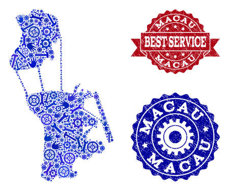 Best service collage of blue mosaic map of Macau and rubber stamps. Mosaic map of Macau designed with gearwheels,cogwheels, spanners, hands. Vector seals with corroded rubber texture. Ilustração