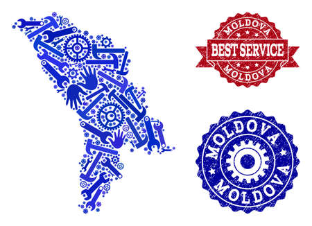 Best service composition of blue mosaic map of Moldova and scratched seal stamps. Mosaic map of Moldova designed with gearwheels,cogwheels, spanners, hands. Illustration