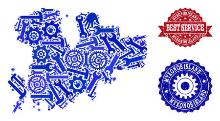 Best service composition of blue mosaic map of Mykonos Island and rubber seals. Mosaic map of Mykonos Island designed with gears, wrenches, hands. Vector watermarks with distress rubber texture. Illustration