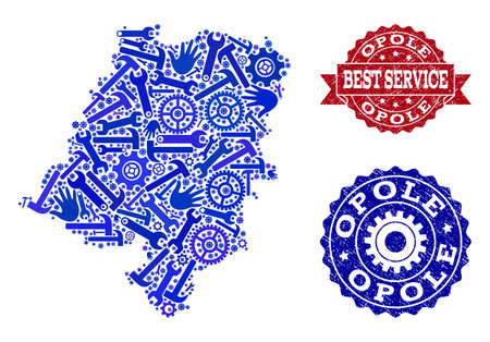 Best service collage of blue mosaic map of Opole Province and rubber seal stamps. Mosaic map of Opole Province designed with cogs, spanners, hands. Vector imprints with scratched rubber texture.