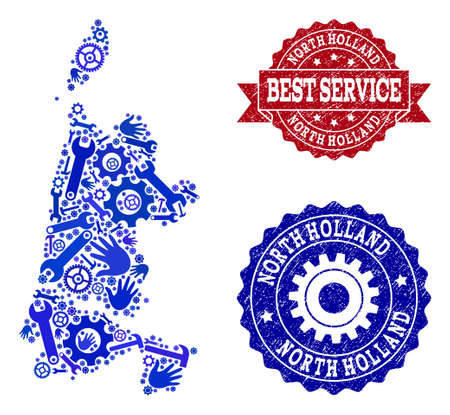 Best service composition of blue mosaic map of North Holland and corroded stamps. Mosaic map of North Holland constructed with gearwheels,cogwheels, spanners, hands. Stock Illustratie