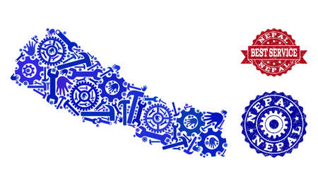Best service composition of blue mosaic map of Nepal and corroded seals. Mosaic map of Nepal designed with gears, wrenches, hands. Vector seals with corroded rubber texture.  イラスト・ベクター素材