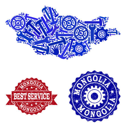 Best service composition of blue mosaic map of Mongolia and corroded stamps. Mosaic map of Mongolia designed with gears, wrenches, hands. Vector imprints with corroded rubber texture.