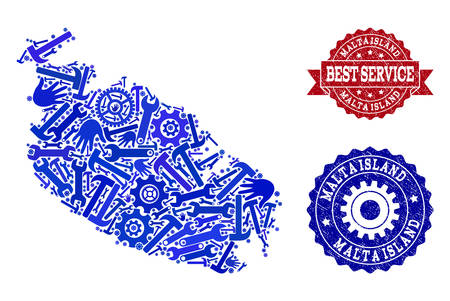 Best service composition of blue mosaic map of Malta Island and grunge stamps. Mosaic map of Malta Island designed with cogs, spanners, hands. Vector watermarks with grunge rubber texture.