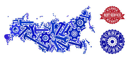 Best service combination of blue mosaic map of Russia and scratched seals. Mosaic map of Russia designed with gearwheels,cogwheels, wrenches, hands. Vector seals with unclean rubber texture. Illustration