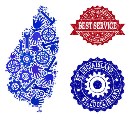 Best service composition of blue mosaic map of Saint Lucia Island and rubber seal stamps. Mosaic map of Saint Lucia Island designed with gearwheels,cogwheels, spanners, hands.