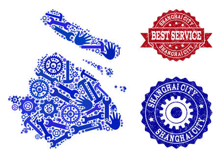 Best service collage of blue mosaic map of Shanghai Municipality and corroded seals. Mosaic map of Shanghai Municipality constructed with cogs, wrenches, hands. Ilustração