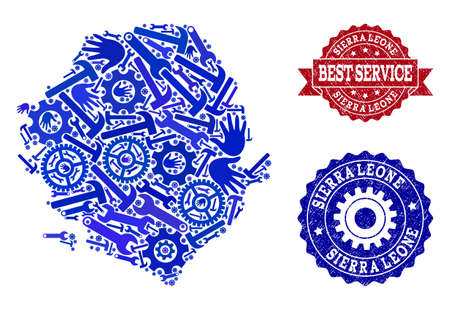 Best service combination of blue mosaic map of Sierra Leone and rubber seals. Mosaic map of Sierra Leone constructed with gears, spanners, hands. Vector seals with retro rubber texture.