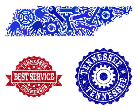 Best service combination of blue mosaic map of Tennessee State and grunge seals. Mosaic map of Tennessee State designed with gearwheels,cogwheels, wrenches, hands.