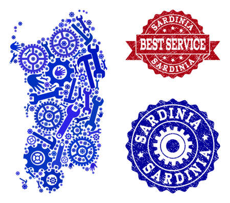 Best service collage of blue mosaic map of Sardinia region and rubber stamps. Mosaic map of Sardinia region designed with gears, wrenches, hands. Vector seals with distress rubber texture. Ilustração