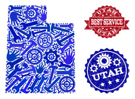 Best service combination of blue mosaic map of Utah State and rubber seals. Mosaic map of Utah State constructed with gears, spanners, hands. Vector seals with scratched rubber texture. 版權商用圖片 - 119417335