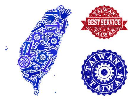 La mejor combinación de servicio de mapa de mosaico azul de Taiwán y sellos texturizados. Mapa de mosaico de Taiwán construido con engranajes, llaves inglesas, manos. Sellos vectoriales con textura de goma sucia.