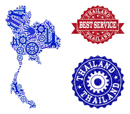 Best service combination of blue mosaic map of Thailand and rubber seals. Mosaic map of Thailand constructed with gears, wrenches, hands. Vector seals with corroded rubber texture.