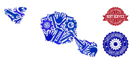 Best service composition of blue mosaic map of Tahiti and Moorea islands and rubber seals. Mosaic map of Tahiti and Moorea islands constructed with gears, wrenches, hands. Illustration