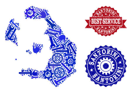 Best service combination of blue mosaic map of Santorini Island and unclean seals. Mosaic map of Santorini Island designed with gears, wrenches, hands. Vector seals with scratched rubber texture.