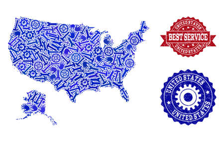 Best service composition of blue mosaic map of USA and Alaska and rubber seals. Mosaic map of USA and Alaska designed with gears, wrenches, hands. Vector seals with distress rubber texture.