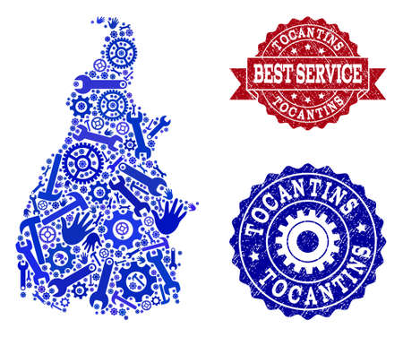 Best service combination of blue mosaic map of Tocantins State and scratched seal stamps. Mosaic map of Tocantins State designed with gearwheels,cogwheels, spanners, hands.