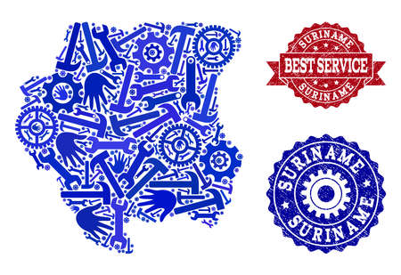 Best service combination of blue mosaic map of Suriname and corroded stamps. Mosaic map of Suriname designed with gearwheels,cogwheels, spanners, hands. Vector watermarks with corroded rubber texture.