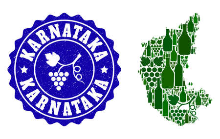 Vector collage of wine map of Karnataka State and grape grunge seal. Map of Karnataka State collage designed with bottles and grape berries bunches. Illustration