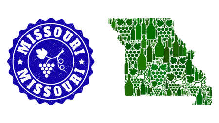 Vector collage of wine map of Missouri State and grape grunge stamp. Map of Missouri State collage formed with bottles and grape berries bunches.