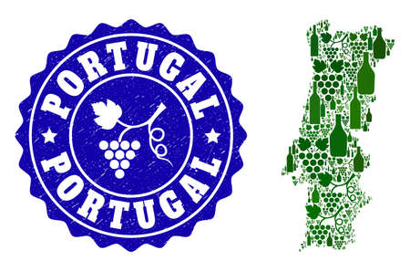 Vector collage of wine map of Portugal and grape grunge seal stamp. Map of Portugal collage formed with bottles and grape berries bunches.